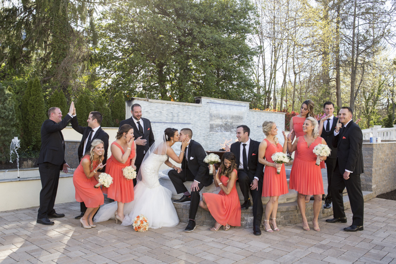 Waterfall wedding bridal party